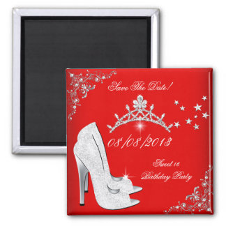 Save The Date Red High Heels Shoes Tiara Fridge Magnets