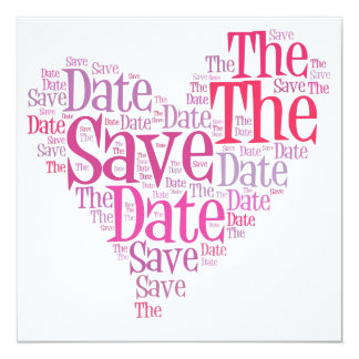 Save the date - shades of pink 13 cm x 13 cm square invitation card