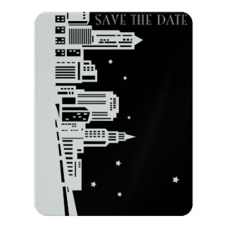 Save The Date - Starry Skyline 11 Cm X 14 Cm Invitation Card