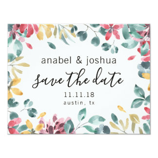 Save the Date Summer Floral Watercolor Card