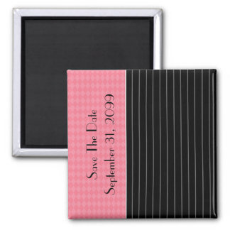 Save The Date Trendy Black Pinstripe Pink Argyle Square Magnet