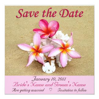 Save the Date - Tropical Beach Wedding 13 Cm X 13 Cm Square Invitation Card
