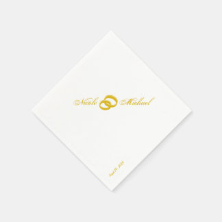 Save The Date - Two gold rings intertwined Disposable Serviettes