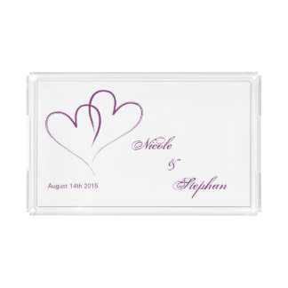 Save The Date - Two purple hearts intertwined Acrylic Tray