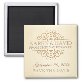 Save the Date Vintage Victorian Wedding Scrolls Magnet