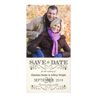 Save the Date Vintage White Wedding Photocards Custom Photo Card