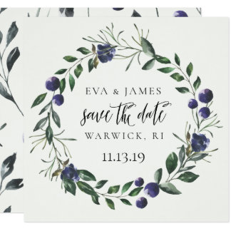 Save the Date Watercolor Floral Summer Fall Blue Card