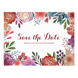SAVE THE DATE WATERCOLOUR | SUMMER FLOWERS POSTCARD
