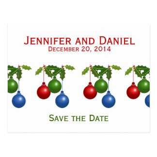 Save the Date Wedding Announcements Holly Balls Postcard