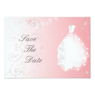 "Save The Date Wedding Dress Invitations 5"" X 7"" Invitation Card"