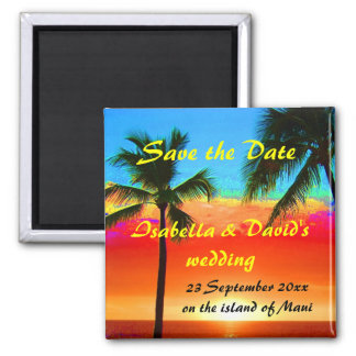 Save the Date Wedding Palm Trees Magnet