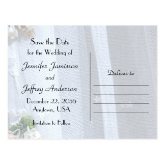 Save the Date Wedding Postcard Announcement Lace