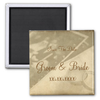 Save The Date - Wedding Rings Square Magnet