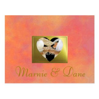 'Save the Date' Wedding | Vintage Rose Orange Set Postcard