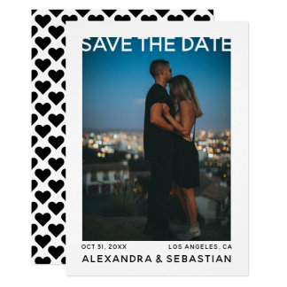 Save The Date White Black Heart Wedding Card