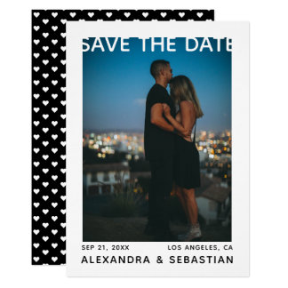 Save The Date White Black Heart Wedding Photo Card