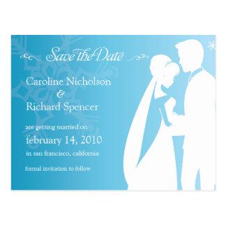 Save the Date Winter Blue Wedding Postcard