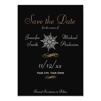 Save the Date Winter Snowflake Simple Wedding 11 Cm X 16 Cm Invitation Card