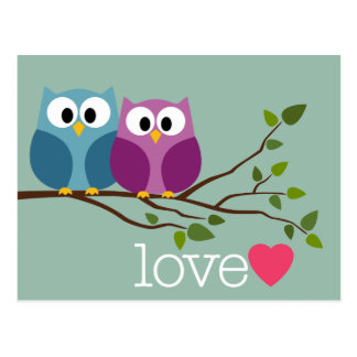 Save the Date with Cute Owl Couple Postcards