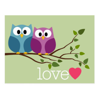 Save the Date with Cute Owl Couple Post Cards