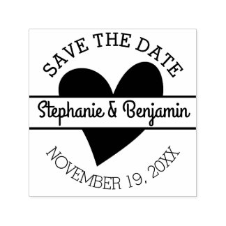 Save the Date with Heart and First Names Self-inking Stamp