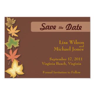 Save the Dates Leaves 13 Cm X 18 Cm Invitation Card
