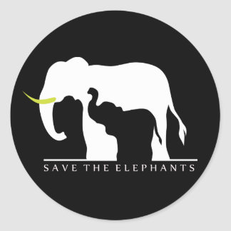 Save the Elephants (black) Round Sticker