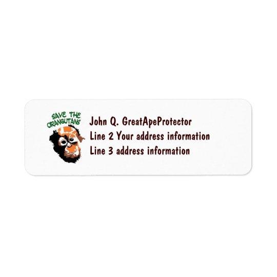 Save the Orangutans Return Address Label