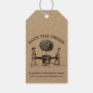 Save the Trees Vintage Illustration K gift tag 1