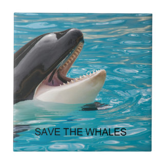 SAVE THE WHALES SMALL SQUARE TILE