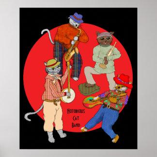 Sax, Trumpet, Banjo, and Guitar Cat Band Poster