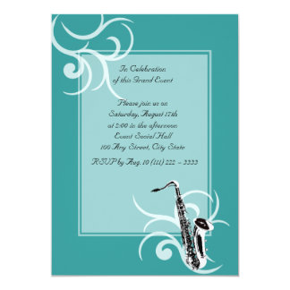 Saxophone Full Color 13 Cm X 18 Cm Invitation Card