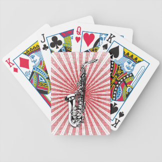 Saxophone on Grunge Red Sunburst Bicycle Playing Cards
