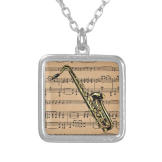 Saxophone ~ With Sheet Music Background Silver Plated Necklace