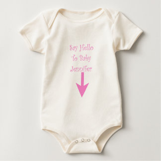 SAY HELLO TO BABY (customized).png Baby Bodysuit