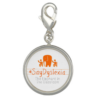 #SayDyslexia Round Charm, Silver Plated