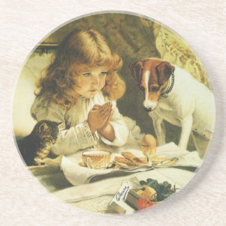 Saying Our Prayers, Suspense Charles Burton Barber Coaster