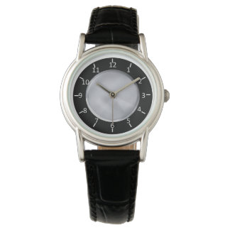 SBS Black and Silver Classic Black Leather Watch