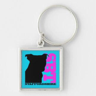 SBT Keychain Blue/PinK  Staffordshire Bull Terrier