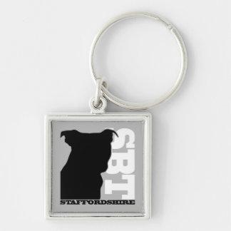SBT Keychain Gry/Blk  Staffordshire Bull Terrier
