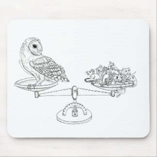 Scale with Barn owl and mice Mouse Pad