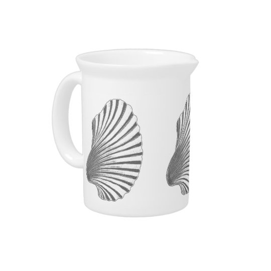 Scallop Shell Block Print, Grey / Grey and White Pitcher
