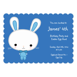 Scalloped Easter Birthday Invitations Blue Bunny