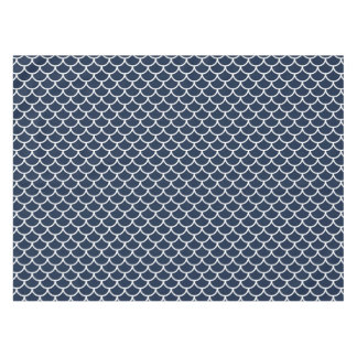 Scalloped Navy Blue and White Tablecloth