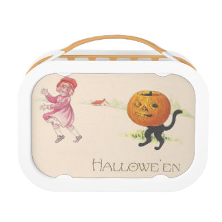 Scared Girl Jack O' Lantern Black Cat Lunch Box