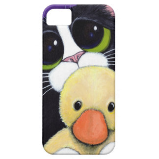 Scared Tuxedo Cat and Cuddly Duck Painting iPhone 5 Cover