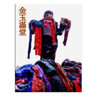 Scarf seller on the market postcard