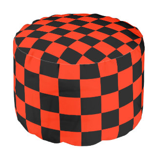 Scarlet and Black Checked Footstool Pouf