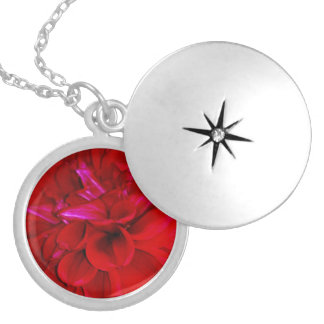 Scarlet Dahlia petals Locket Necklace