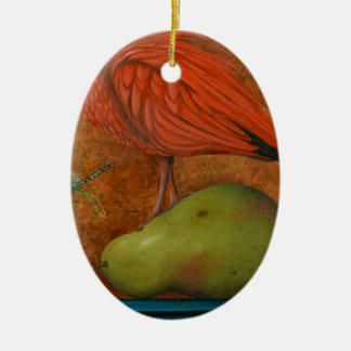 Scarlet Ibis On A Pear Christmas Ornament